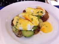 Potato Pancakes with Avo, Poached Eggs & Hollandaise