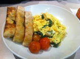 Scrambled Eggs with Spinach & Feta served with Toasted Flat Bread