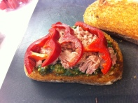 Tuna, Pesto & Spinach Salad Sandwich - Add the Capsicum or Peppers