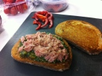 Tuna, Pesto & Spinach Salad Sandwich - Add the Tuna
