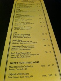 Wine List- 1