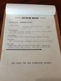 Lunch Menu - Classic Sandwiches