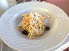 Bircher Muesli with Dried Fruits, Shredded Granny Smith Apple, Fresh Blueberries, Ricotta, Toasted Almonds & Honey