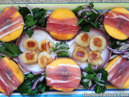 Willo's Seared Scallops & Peach Salad