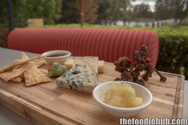 Arrigoni taleggio, Queso Valedeon & Urbriaco al Prosecco cheeses with muscatels, lavosh, apple chutney & truffle honey