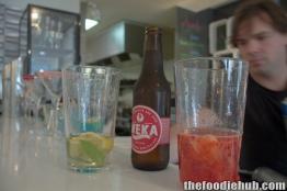 Mixing the Apple Cider Martini & Kiwi Fruit Pavlova Martini