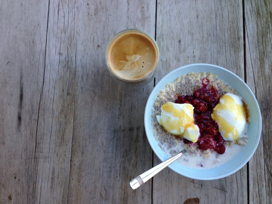Rolled Oats, Raspberries, Natural yoghurt, Honey, Chia Seeds & Antz Inya Pantz Tiger Mountain Coffee