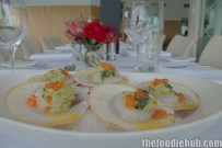 Harvey Bay Scallops, Smoked Egg Plant, Tarragon Butter, Salmon Pearls2