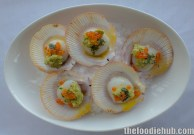 Harvey Bay Scallops, Smoked Egg Plant, Tarragon Butter, Salmon Pearls3