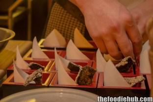 Preparing the Kawa Ebi and Sundried Crispy Nori Sheet