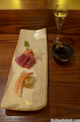 Sashimi - Salmon, Tuna, Prawn with Sake