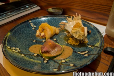 Wagyu Beef, Red Emperor, Soba noodle tempura, Oyster