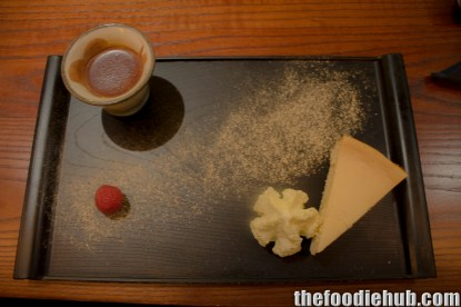 Yuzi Cheesecake with Wasabi Cream, Chocolate Drink and Mountain Peach