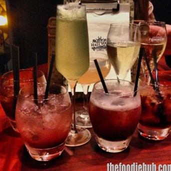 From L-R Choc Cherry, Blackberry Bramble, So Fresh & So Clean, Pommery Champagne. All $16-18.